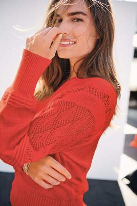 Next Womens Coral Pointelle V-Neck Jumper - Pink