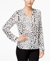 INC International Concepts Printed Zip-Front Blouse, Only at Macy's