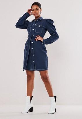 Missguided Tall Blue Contrast Stitch Denim Mini Dress