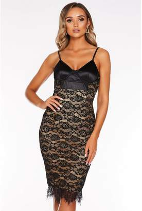 Quiz Black Satin Lace Strappy Midi Dress