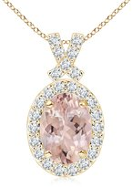 Angara.com Vintage Inspired Diamond Halo Oval Morganite Pendant in 14K Yellow Gold (8x6mm Morganite)