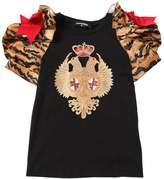 DSQUARED2 Cotton Jersey & Tiger Satin T-Shirt