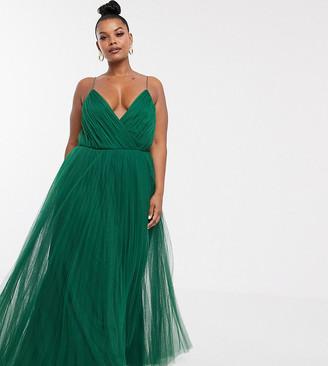 Asos DESIGN Curve cami pleated tulle maxi dress-Green