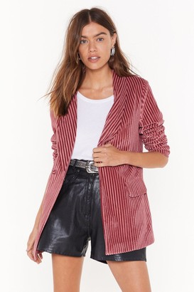 Nasty Gal Womens Say It Stripe Velvet Striped Blazer - Pink - 8