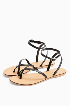 Topshop WIDE FIT PANDA Black Leather Sandals