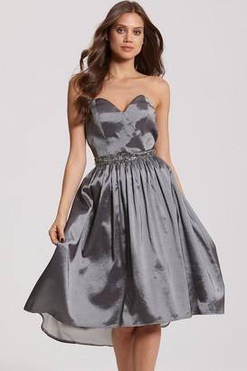 Little Mistress Grey Satin Midi Prom Dress