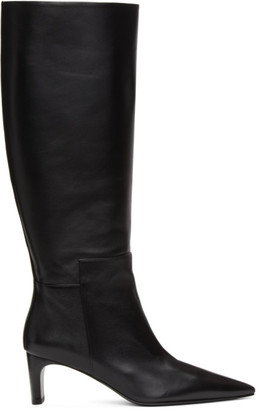 Jil Sander Black Pointy Toe Heeled Tall Boots
