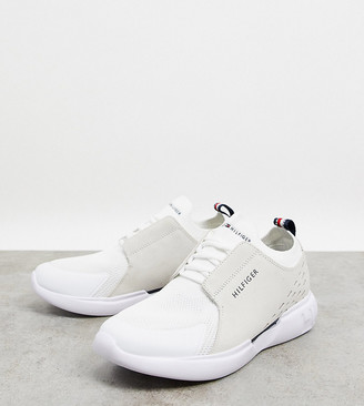 Tommy Hilfiger exclusive to ASOS corporate stripe back leather cupsole trainers in white