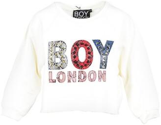 Boy London Off White Cotton Cropped Women's Sweatshirt