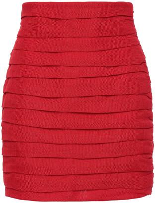 Magda Butrym Pleated Linen Mini Skirt
