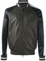 Emporio Armani contrast zip up bomber jacket - men - Lamb Skin/Polyester/Spandex/Elastane - M