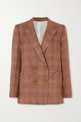BLAZÉ MILANO Bella Donna Everynight Double-breasted Checked Linen And Wool-blend Blazer - Brick