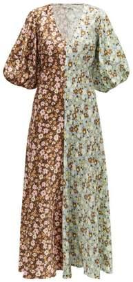 Lee Mathews Zoe Panelled Floral-print Silk Dress - Womens - Multi