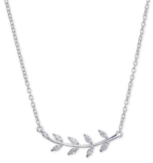 "Unwritten Cubic Zirconia Leaf Pendant Necklace in Sterling Silver, 16""+2"" Extender"