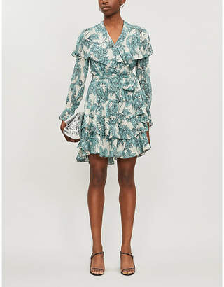 Diane von Furstenberg Simone ruffled floral-print crepe mini wrap dress