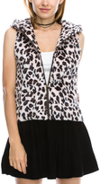 White & Brown Leopard Hooded Zip-Up Vest