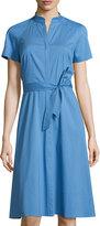 Lafayette 148 New York Braelyn Belted Short-Sleeve Dress, Cornflower