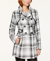 Amy Byer Juniors' Double-Breasted Faux Leather-Trim Plaid Outerwear Coat