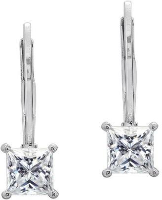 Diamonique Sterling 1.00 cttw Princess-Cut Lever Back Earring