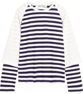 Comme des Garcons Layered Striped Cotton-jersey Top - White