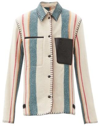 Loewe Anagram-pocket Striped Wool-twill Jacket - Multi