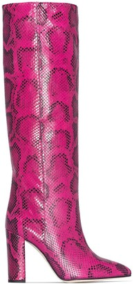 Paris Texas Python Print Knee-High Boots