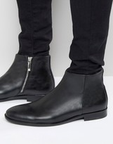Aldo Pannone Leather Zip Up Boots