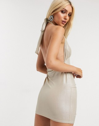In The Style metallic draped mini dress in gold