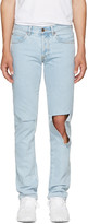 Off-White Blue Diagonal Raw Cut Slim Jeans