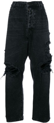 Unravel Project Ripped Wide Leg Jeans