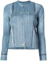Pleats Please Issey Miyake micro pleated denim jacket
