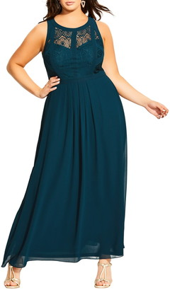 City Chic Paneled Lace Bodice Gown