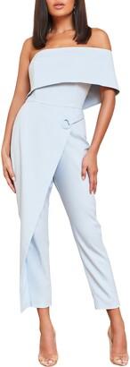 Lavish Alice Grommet Asymmetrical Off the Shoulder Jumpsuit