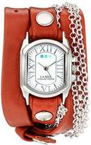 La Mer Women's 'Silver Bubble Chain' Quartz Tone and Leather Watch, Multi Color (Model: LMCW2016367)