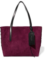 Jimmy Choo Sara Medium Studded Suede And Textured-leather Tote - Black