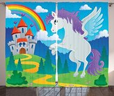 Kids Decor Curtains by Ambesonne, Fantasy Myth Unicorn with Rainbow and Medieval Castle Fairy Tale Cartoon Design, Living Room Bedroom Window Drapes 2 Panel Set, 108 W X 63 L Inches, Multicolor