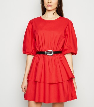 New Look Influence Puff Sleeve TieDress
