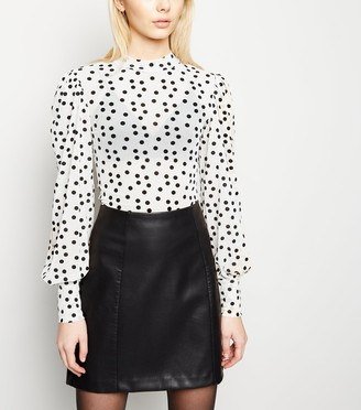 New Look Flocked Spot Mesh Puff Sleeve Top