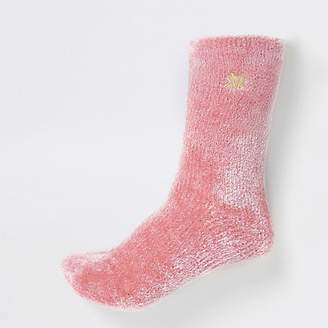 River Island Pink RI velvet fluffy slipper socks