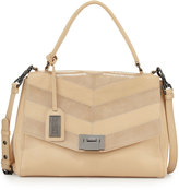 Badgley Mischka Remy Snake-Embossed Leather Satchel Bag, Latte