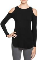 Aqua Rib Knit Cold Shoulder Top