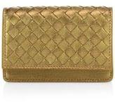 Bottega Veneta Intrecciato Metallic Leather Flap Wallet