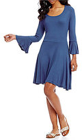 Copper Key Bell Sleeve Fit-and-Flare Knit Dress