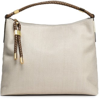 Michael Kors Leather-trimmed Woven Shoulder Bag