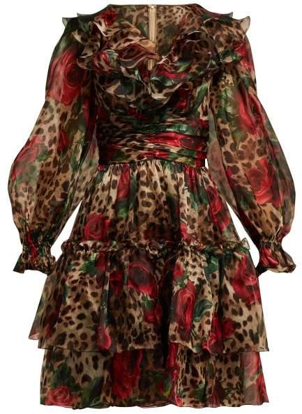 Dolce & Gabbana Rose And Leopard Print Silk Organza Midi Dress - Womens - Beige Multi