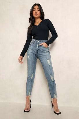 boohoo Petite Distressed Hem Straight Leg Jean