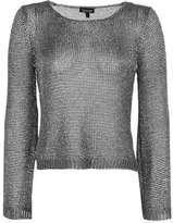 Metal yarn flute sleeve top
