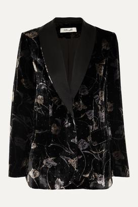 Diane von Furstenberg Tommy Satin-trimmed Metallic Floral-print Velvet Blazer - Black