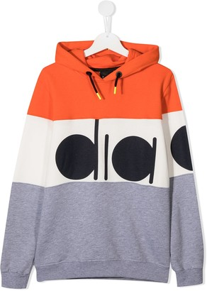 Diadora Junior TEEN colour-block logo pullover hoodie
