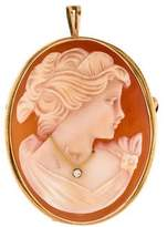 14K Diamond Cameo Pendant Brooch